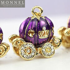 H54 Cute Purple Pumpkin Carriage Pendant Charm Wholesale (3pcs)