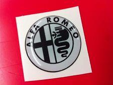 1 Adesivo Resinato Sticker 3D Alfa Romeo 50 mm white & black