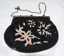 RARE 1920 Belgium Black Bead Evening Bag Beige Pink Green Floral Tambour Stitch