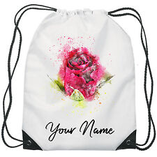 Personalised Rose Gym Bag PE Dance Sports School Swim Bag Waterproof