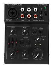 Rockville RockMix 5 Channel Pro Mixer w/USB Interface, Bluetooth, Echo, EQ