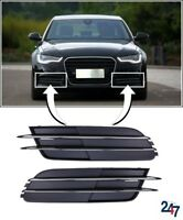 NEW AUDI A6 C7 2011 - 2014 FRONT BUMPER LOWER FOG LIGHT GRILL COVER PAIR SET
