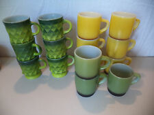 15 Vintage Yellow Green Diamond Fire King Anchor Hocking Mugs Coffee Cups!