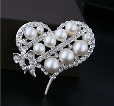 SILVER WHITE HEART  BUTTERFLY BOW FAUX PEARL DIAMANTE RHINESTONE CRYSTAL BROOCH