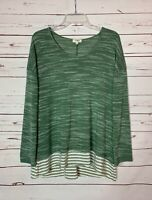 Umgee Boutique Women's L Large Green Striped Light Spring Summer Sweater Top