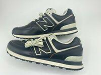 New Balance 574 Black Vintage Leather Shoes Men's Size 10 D ML574LPK New