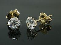 333 Gold  Ohrstecker  mit 3 Krappen 1 Paar 5 mm Grösse mit  Zirkonia Steinen