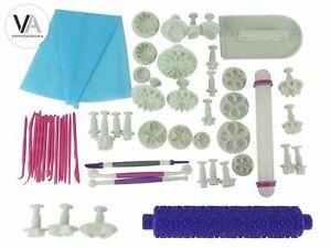 Anokay DIY 54-tlg Set Modellierwerkzeug Fondant Ausstechform Tortendeko Stempel