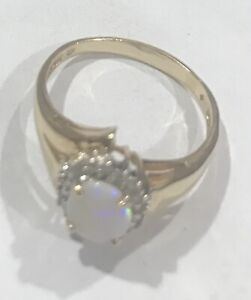 14k Yellow Gold Lady Opal And Diamond Ring Size 11 1/2,  5.6 GRAMS