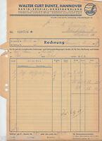 PA0025. WALTER CURT DUNTZ, HANNOVER. Radio-Grosshdlg. Rechnung vom 21.03.1939