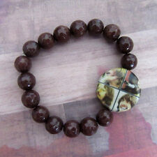 The Fab Four Beatles Stretch Bracelet with Brown Faceted Agate Beads