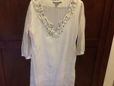 Zara White short tunic with embroidery Size Large Vneck Amazing Double Layers
