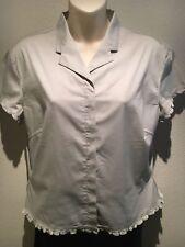 Esprit Pale Sage Green Short Sleeve Collar Button Stretch Shirt Size14 Fit 12 14