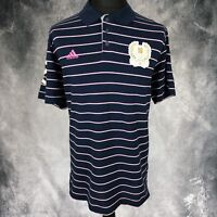 Adidas UK XL Navy Blue Pink White Striped Polo Shirt London 2012 Olympics