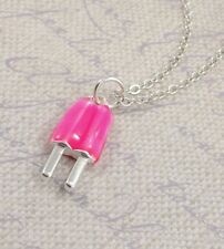 Silver and Pink Strawberry Popsicle Necklace - Popsicle Charm Jewelry NEW