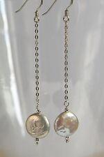 Unusual STERLING SILVER 925 EARRINGS Freshwater WHITE BIWA PEARL Handmade Bridal