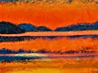 """Original oil and acrylic painting signed by Nalan Laluk: """"Sand, Sky, and Hills"""""""