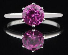 100% Natural Pink Tourmaline 14KT White Gold Round Shape 1.30CT Women's Ring