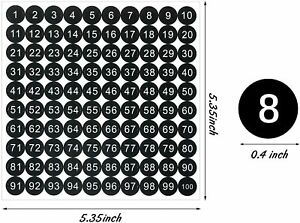 1-100 Vinyl Number Stickers 10mm Small Round Self-Adhesive Inventory Label black