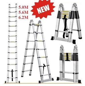 NEW 5M 5.6M 6.2M Telescopic Aluminium Ladder Extension Extendable Step Fold
