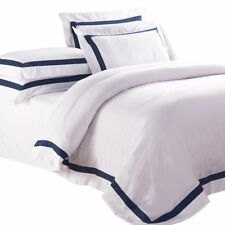 WHITE QUILT COVER Queen Size Blue Trim Doona Duvet Cover Set NEW AVA COLLECTION