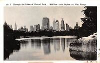 New York City~Skyline Over Central Park Lakes~Real Photo Postcard 1943