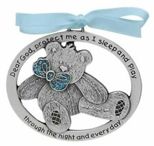 Blue Teddy Bear Crib Medal (CM17B) 2.5 Inches