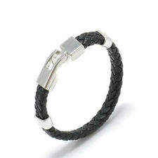 Men Black Unique Stainless Steel Magnetic Clasp Bangles Leather Bracelet