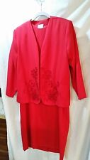 """VICTORIA MORGAN""  Georgeous Red Dress & Jacket Size 16 USA GREAT FOR CHURCH"