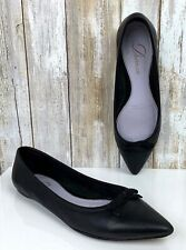 DELMAN Women's Black Leather Slip On Pointed Toe Ballet Flats US Size 6 USED