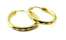 22k Yellow Gold Diamond Cut Hoop Ladies Earrings ~ 2.8g
