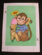 "HAPPY BIRTHDAY Cute Monkey w/ Ice Cream Cone 6.5x9"" Greeting Card Art #E7071"
