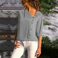 Women Fashion Long Sleeve Office Chiffon Blouse Shirt T-Shirt Lady Tops