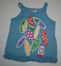 Used Hanna Andersson Girls 4 year 110 cm Tank top Blue w Surf Boards Graphic Tee