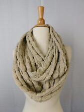Echo Design Optic Dot Chunky Knit Infinity Loop Cowl Scarf Camel Beige #5854