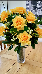 EXTRA LARGE ARTIFICIAL FLOWERS ARRANGEMENT LUXURY ROSES FOLIAGE VASE IN WATER