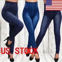 US Womens Pencil Pants Stretch High Waist  Denim Jeggings Pants Leggings //