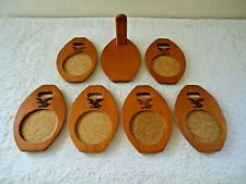 Vintage Milbern Wooden Oval Shaped Eagle Themed Set Of 6 Coasters With Holder