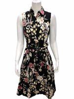 Isaac Mizrahi Women's Pullover Tropical Floral Printed Shirt Dress Black Size 6