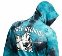 True Religion Men's Tie Dye Classic Buddha Logo Full Zip Up Hoodie Sweatshirt