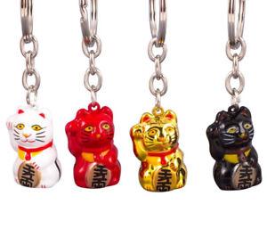 Schlüsselanhänger Glückskatze Maneki Neko Winkekatze Katze Glück Anhänger gold