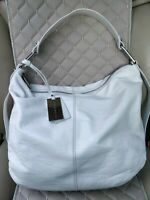 Coccinelle Womens White Leather Bag Shoulder Hobo Tote Shopper Purse