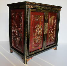 Antique Chinese Red Lacquer Gold Wash Jewelry Box Hand Carved Figural Panels,