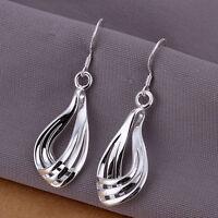 Hot Women 925 Sterling Silver Plated Hoop Dangle Earring Studs Jewelry