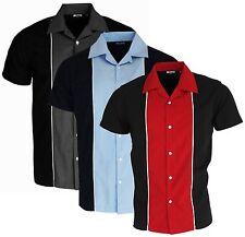 Men's Bowling Shirt Red Blue Black Options 3 Colours Rockabilly Ten Pin Shirt