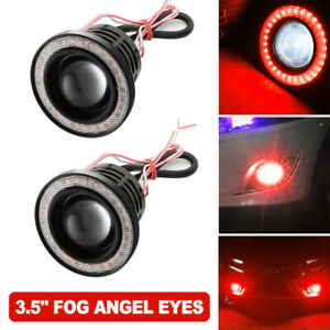 "3.5"" Inch COB LED Fog Light Projector Car Red Angel Eyes Halo Ring DRL Lamp"