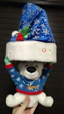 GEMMY DECK THE HALLS SINGING HAT PLUSH DOLL ELECTRONIC CHRISTMAS X-MAS HOLIDAY