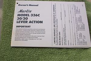 MARLIN 30/30 MODEL 336C LEVER ACTION OWNERS MANUAL, 7 pages of helpful info