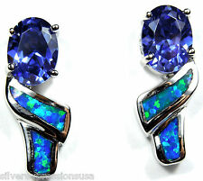 Tanzanite and Blue Fire Opal Inlay Solid 925 Sterling Silver Stud Post Earrings