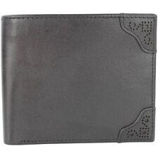 Fred Perry Brogue detalle Billetera para hombre de cuero billetera -- L7322-102 -- Negro